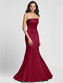 cheap Bridesmaid Dresses-Mermaid / Trumpet Strapless Floor Length Satin Bridesmaid Dress with Side Draping by LAN TING BRIDE®