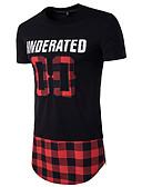 baratos Camisetas & Regatas Masculinas-Homens Camiseta - Esportes Activo Patchwork, Xadrez / Letra Algodão Decote Redondo Delgado / Manga Curta / Longo
