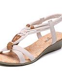 זול עליוניות לנשים-בגדי ריקוד נשים נעליים PU קיץ נוחות סנדלים שטוח / עקב נמוך פתוח בבוהן קפלים שחור / בז'
