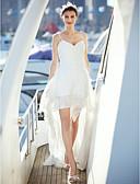 billige Brudekjoler-A-linje V-hals Hofslæb Chiffon / Blondelukning Made-To-Measure Brudekjoler med Krydsdrapering ved LAN TING BRIDE® / Små Hvide Kjoler