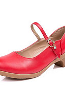 זול הינומות חתונה-בגדי ריקוד נשים נעליים מודרניות דמוי עור עקבים עקב נמוך ללא התאמה אישית נעלי ריקוד בז' / פוקסיה / אדום