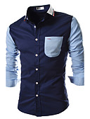 cheap Men's Shirts-Men's Cotton Slim Shirt - Color Block Houndstooth