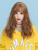 cheap Girls' Dresses-Synthetic Wig Wavy With Bangs Synthetic Hair With Bangs Brown / Gray Wig Women's Medium Length Capless