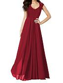preiswerte Damen Kleider-Damen Arbeit Anspruchsvoll Baumwolle Hülle Kleid Solide Maxi V-Ausschnitt Hohe Hüfthöhe