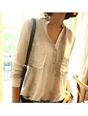 preiswerte Hemd-Damen Street Schick Ausgehen / Arbeit Hemd, V-Ausschnitt Druck