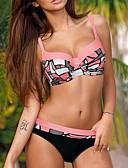cheap Women's Swimwear & Bikinis-Women's Strap Orange Pink Yellow Cheeky Bikini Swimwear - Color Block Print L XL XXL