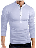 cheap Men's Tees & Tank Tops-Men's Cotton Slim T-shirt - Solid Colored Stand / Long Sleeve