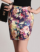 cheap Women's Skirts-Women's Plus Size Bodycon Skirts - Floral Print