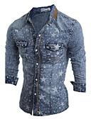 baratos Camisas Masculinas-Homens Camisa Social Temática Asiática Sólido Algodão Colarinho Clássico