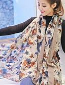 baratos Vestidos de Mulher-Mulheres Voile, Retângular - Estampado