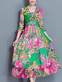 baratos Vestidos de Mulher-Mulheres Tamanhos Grandes Boho Seda Chifon Vestido - Estampado Decote V Cintura Alta Longo