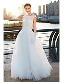 זול שמלות כלה-גזרת A סקופ צוואר שובל סוויפ \ בראש טול שמלות חתונה עם תחרה על ידי LAN TING BRIDE® / שקוף