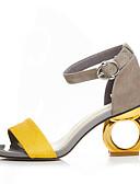 cheap Mother of the Bride Dresses-Women's Shoes Suede Spring / Summer Sandals Heterotypic Heel Open Toe Buckle Black / Yellow / Screen Color