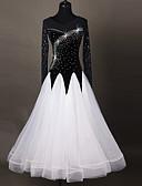 저렴한 볼룸 댄스 웨어-볼륨 댄스 드레스 여성용 성능 친론 아플리케 장식용 금속조각 스플리싱 긴 소매 높음 드레스