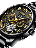 cheap Sport Watches-Men's Sport Watch / Skeleton Watch / Military Watch Japanese Calendar / date / day / Water Resistant / Water Proof / Creative Stainless Steel Band Charm / Luxury / Casual Black / Silver / Large Dial