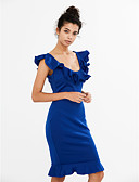 זול שמלות נשים-צווארון V עד הברך קפלים, אחיד - שמלה צינור ליציאה בגדי ריקוד נשים / סירה מתחת לכתפיים