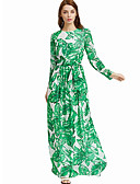 cheap Women's Dresses-Women's Going out / Work Casual Sheath Dress - Floral Vintage Style High Rise Maxi / Floral Patterns