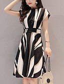 cheap Women's Dresses-Women's Going out / Work A Line Dress - Striped Print