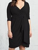 povoljno Ženske haljine-Žene Veći konfekcijski brojevi Širok kroj Haljina Jednobojni V izrez Iznad koljena