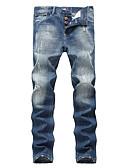 baratos Calças e Shorts Masculinos-Homens Moda de Rua Tamanhos Grandes Algodão Solto Jeans Largo Calças - Sólido