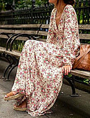 cheap Women's Dresses-Women's Boho Silk Swing Dress - Floral High Rise Maxi V Neck