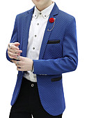 cheap Men's Jackets & Coats-Men's Party / Daily / Work Street chic Spring / Fall Plus Size Regular Blazer, Solid Colored / Polka Dot / Color Block Shirt Collar Long Sleeve Cotton / Polyester Pleated / Embroidered Green / Black