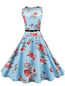 baratos Vestidos Femininos-Mulheres Vintage Algodão Bainha / balanço Vestido - Estilo vintage, Floral Altura dos Joelhos