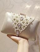 abordables Vestidos de Noche-Mujer Bolsos PU Bolso de Noche Detalles con Perlas Un Color Dorado / Plata