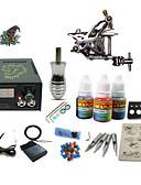 baratos Relógios Homem-Máquina de tatuagem Conjunto de Principiante - 1 pcs máquinas de tatuagem com 1 x 5 ml tintas de tatuagem, Profissional LCD de alimentação