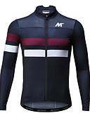 cheap Men's Exotic Underwear-Mysenlan Men's Long Sleeve Cycling Jersey - Dark Blue Horizontal Strips Bike Jersey, Breathable Quick Dry Polyester