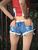 זול מכנסיים לנשים-מכנסיים - צבע טהור, אחיד רזה שורטים ג'ינסים בגדי ריקוד נשים