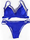 tanie Bikini i odzież kąpielowa 2017-Damskie Trójkątny Pasek Bikini Solidne kolory Dół typu Cheeky
