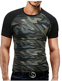 cheap Men's Hoodies & Sweatshirts-Men's Sports Military Plus Size Cotton Slim T-shirt - Camouflage Print Round Neck / Short Sleeve