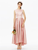 cheap Bridesmaid Dresses-A-Line Bateau Neck Asymmetrical Satin Bridesmaid Dress with Sash / Ribbon Pleats by LAN TING BRIDE®