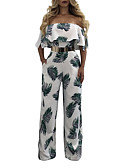cheap Women's Jumpsuits & Rompers-Women's Off Shoulder Wide Leg Floral Daily / Holiday / Going out Vintage / Boho Boat Neck White Wide Leg Jumpsuit, Vintage Tropical Leaf Backless / Ruffle / Fashion M L XL High Rise Short Sleeve