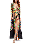 cheap Women's Dresses-Women's Going out Loose Dress - Geometric Maxi Deep V / Summer