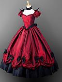 billiga Lolitaklänningar-Gotiskt Victoriansk Kostym Dam Flickor Klänningar Festklädsel Maskerad Röd Vintage Cosplay Satin Kort ärm Ballong Golvlång Halloweenkostymer / Gotisk Lolita