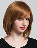 billige Slips og sløyfer-Human Hair Capless Parykker Klassisk Naturlige bølger Høy kvalitet Jet Svart Medium Rødbrun Daglig