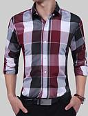 זול חולצות לגברים-קולור בלוק / משובץ / משבצות בוהו / סגנון סיני Party / עבודה מידות גדולות כותנה, חולצה - בגדי ריקוד גברים סגנון פורמלי / מסוגנן / שרוול ארוך