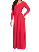 cheap Women's Dresses-Women's Loose Dress - Solid Colored Maxi V Neck