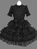 billige Lolitakjoler-Prinsesse Gotisk Lolita Punk Kjoler Cosplay Svart Ballkjole Kappeerme Kortermet Kort / mini Store størrelser Tilpasset kostymer