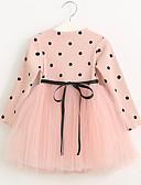 cheap Girls' Dresses-Girl's Polka Dot Dress, Cotton Acrylic Nylon Winter Fall Long Sleeves Dot Blushing Pink