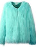 זול מעיל פרווה-אחיד מעיל פרווה - בגדי ריקוד נשים דמוי פרווה