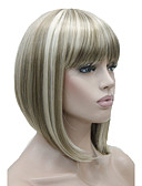 cheap Quartz Watches-Synthetic Wig Straight Blonde Bob Haircut / With Bangs Synthetic Hair Blonde Wig Women's Short Capless