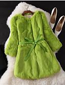 ieftine Tricou-Pentru femei Nuntă / Petrecere / Ocazie specială Toamnă Regular Palton Piele, Mată Rotund Lungime Manșon 3/4 Blană de Iepure Gri / Mov / Verde Deschis XL / XXL / XXXL / Muncă