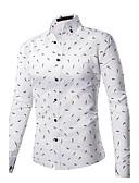 cheap Men's Shirts-Men's Business Active Street chic Plus Size Cotton Slim Shirt - Solid Colored Standing Collar
