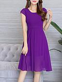 baratos Vestidos de Mulher-Mulheres Tamanhos Grandes Para Noite Sofisticado / Boho Evasê / Chifon Vestido Sólido Altura dos Joelhos