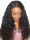 preiswerte Hochzeitskleider-Echthaar Spitzenfront Perücke Natürlich gewellt 130% Dichte 100 % von Hand geknüpft Afro-amerikanische Perücke Natürlicher Haaransatz