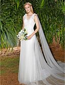 preiswerte Hochzeitskleider-A-Linie V-Ausschnitt Pinsel Schleppe Spitze / Tüll Maßgeschneiderte Brautkleider mit Drapiert / Spitze durch LAN TING BRIDE®