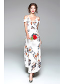 cheap Women's Dresses-Women's Daily Going out Cute Sexy Chiffon Swing Maxi Dress, Floral Split V Neck Short Sleeves Spring Summer High Rise